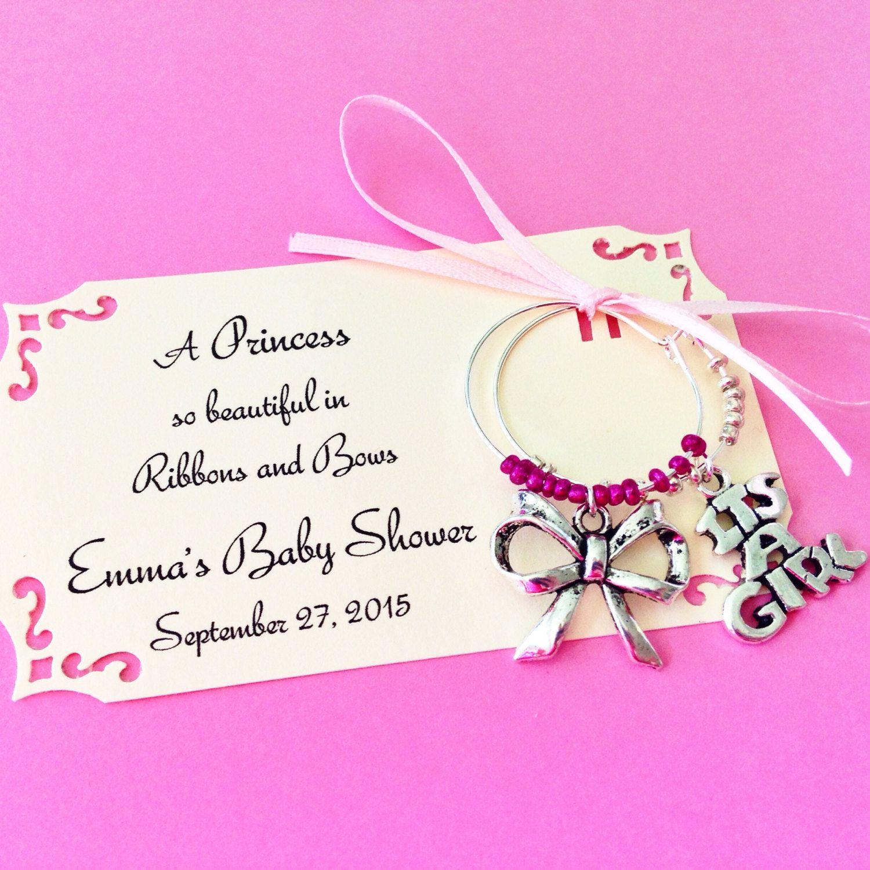 Princess theme baby shower wine charm favors: 2 charm set. It\'s a ...