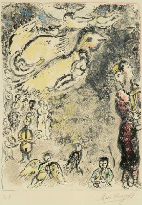"By Marc Chagall (1887-1985), 1972,  ""The Magic Flute I"", lithography, color printing."