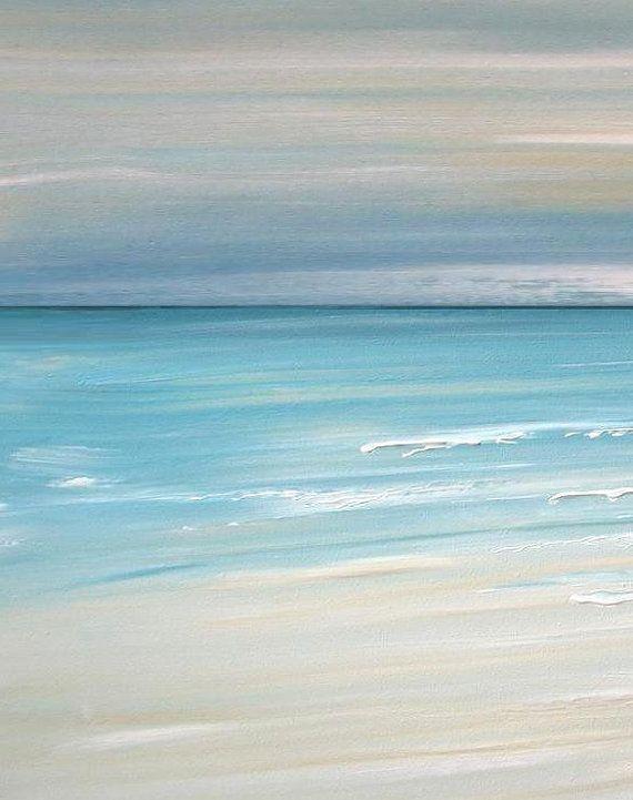 Beach Artwork Nautical Decor Art Ocean Tropical Wall Abstract Painting Coastal Free S H