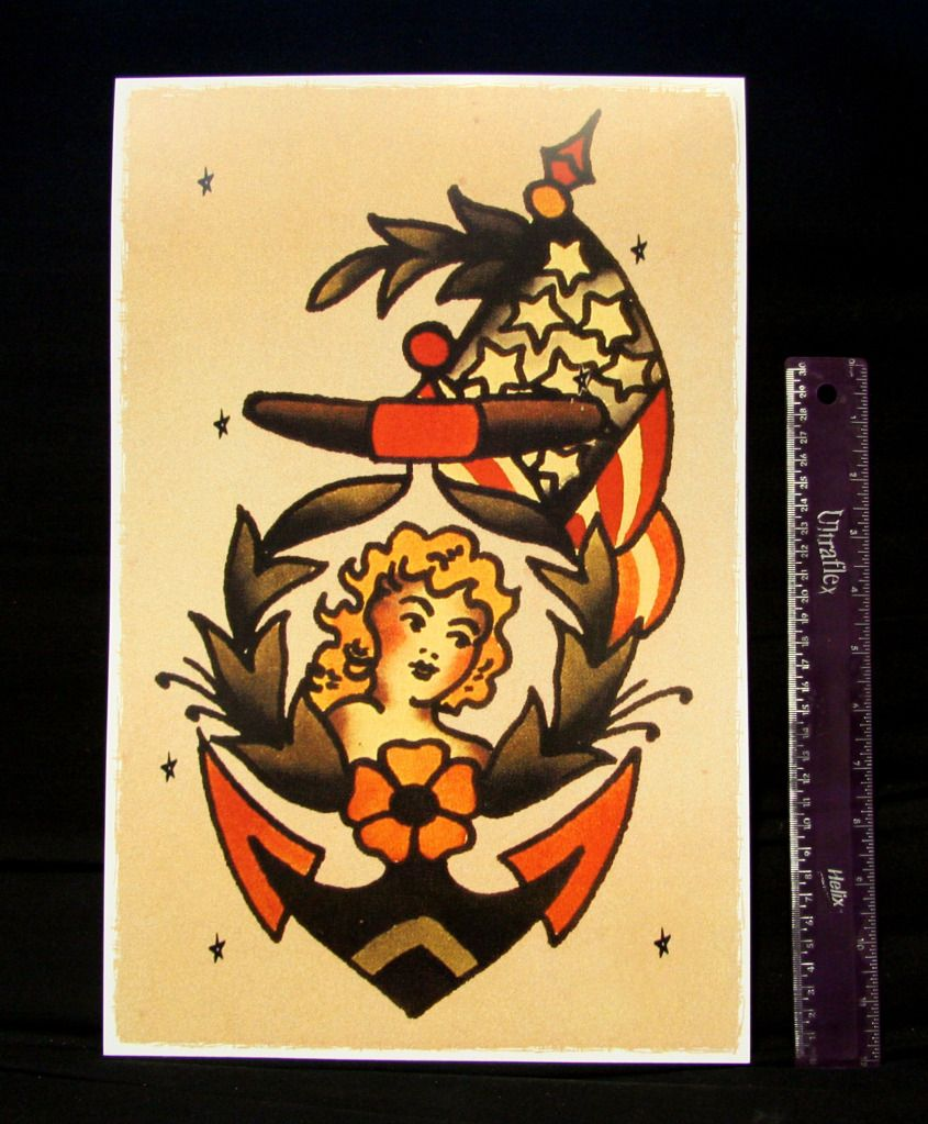 Anchor Girl vintage Sailor Jerry Traditional style tattoo Pin Up ...