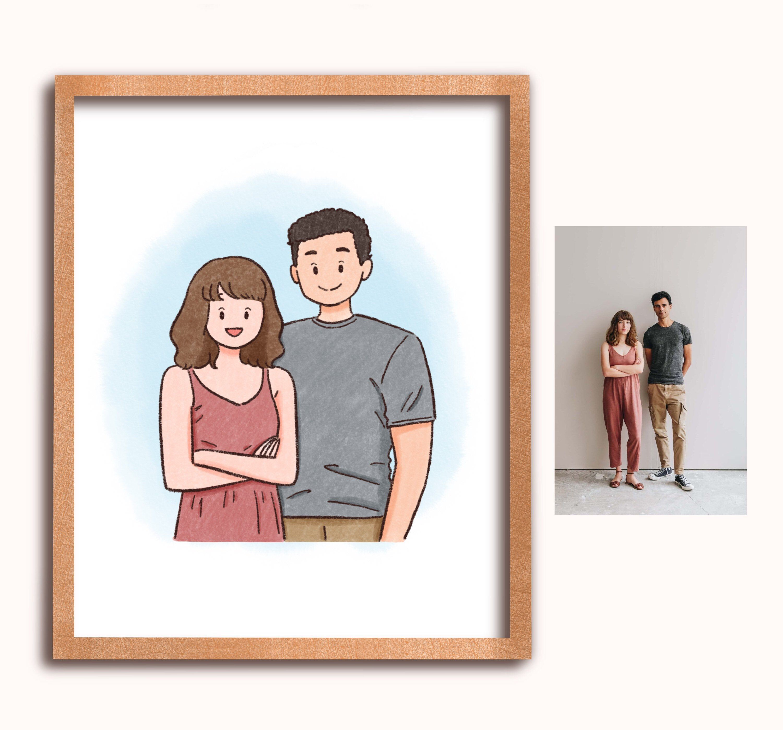 Waist Up Couple Custom Portrait Couple Drawing Digital Etsy Family Drawing Custom Portraits Drawings