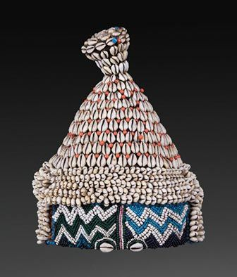 Africa | Hat from the Kuba people of DR Congo | Cowrie shells, glass beads and fiber