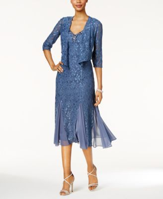 8daeb73d512 An embellished neckline makes this Alex Evening jacketed lace dress the  sweetest choice for your next formal event.