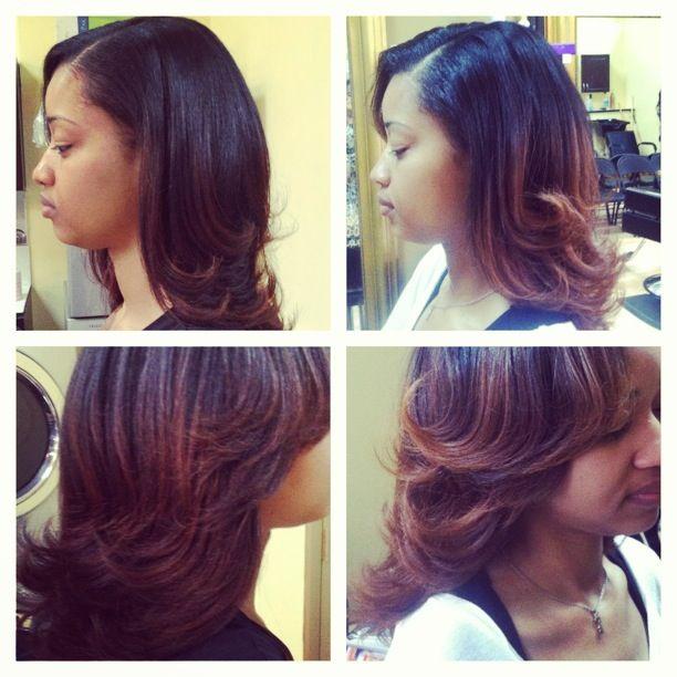 Auburn Ombre on relaxed hair. | Corlette\'s Eden Salon ...
