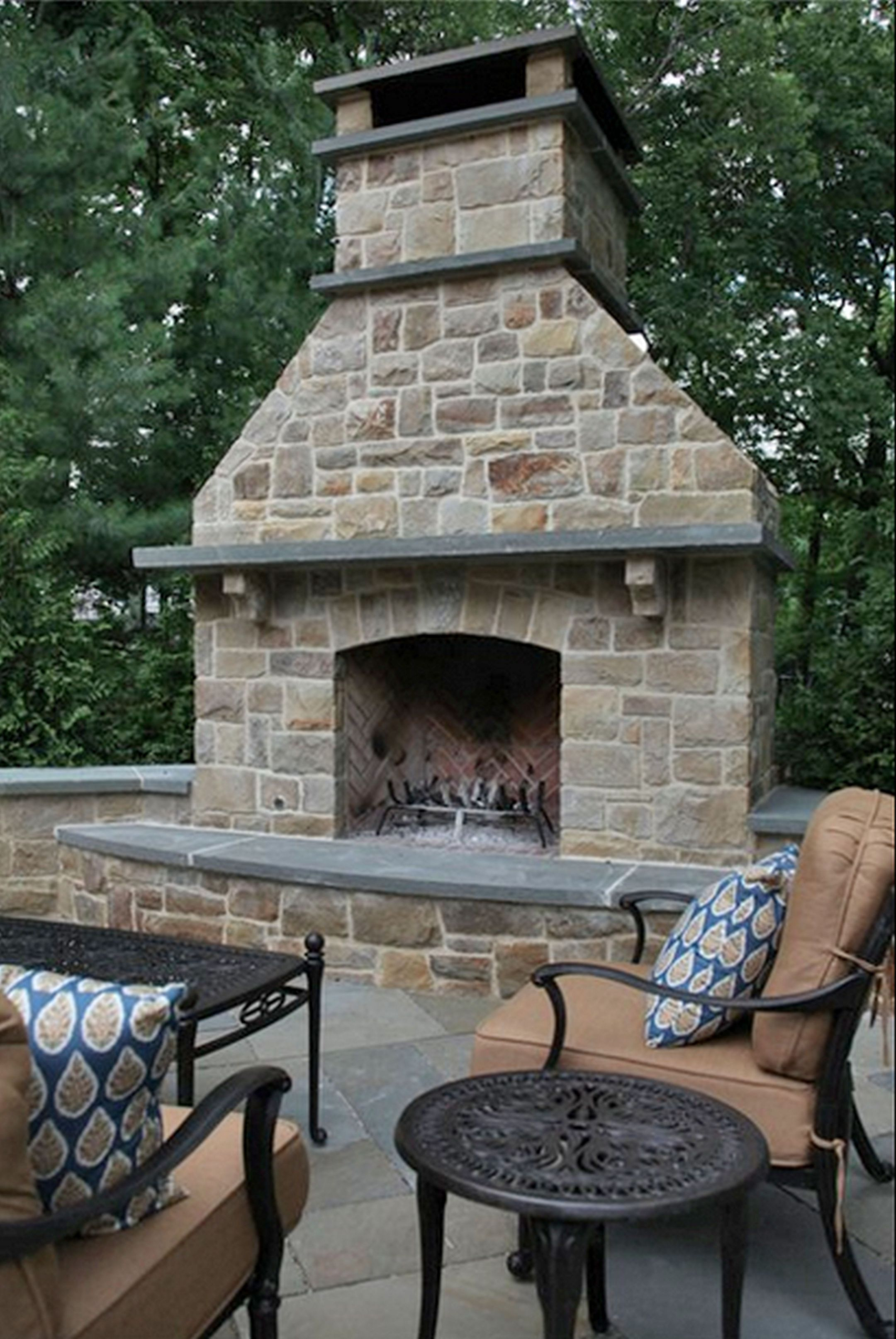 Outdoor Stone Fireplace Design Idea Outdoor Stone Fireplace