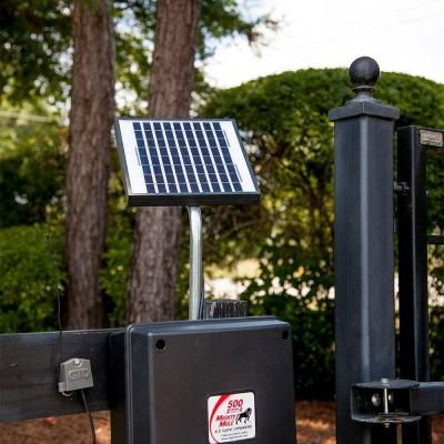 Mighty Mule 10 Watt Solar Panel Kit For Electric Gate Opener Fm123 The Home Depot Electric Gate Opener Solar Powered Gate Opener Solar