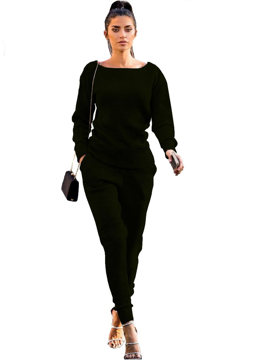 Long Sleeve Ribbed Two Piece Sporty Set_Pant Set_Women Set_Sexy Lingeire   Cheap Plus Size Lingerie At Wholesale Price   Feelovely.com