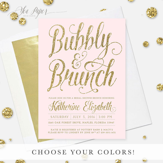The ava bubbly brunch invite features blush pink for Champagne brunch bridal shower