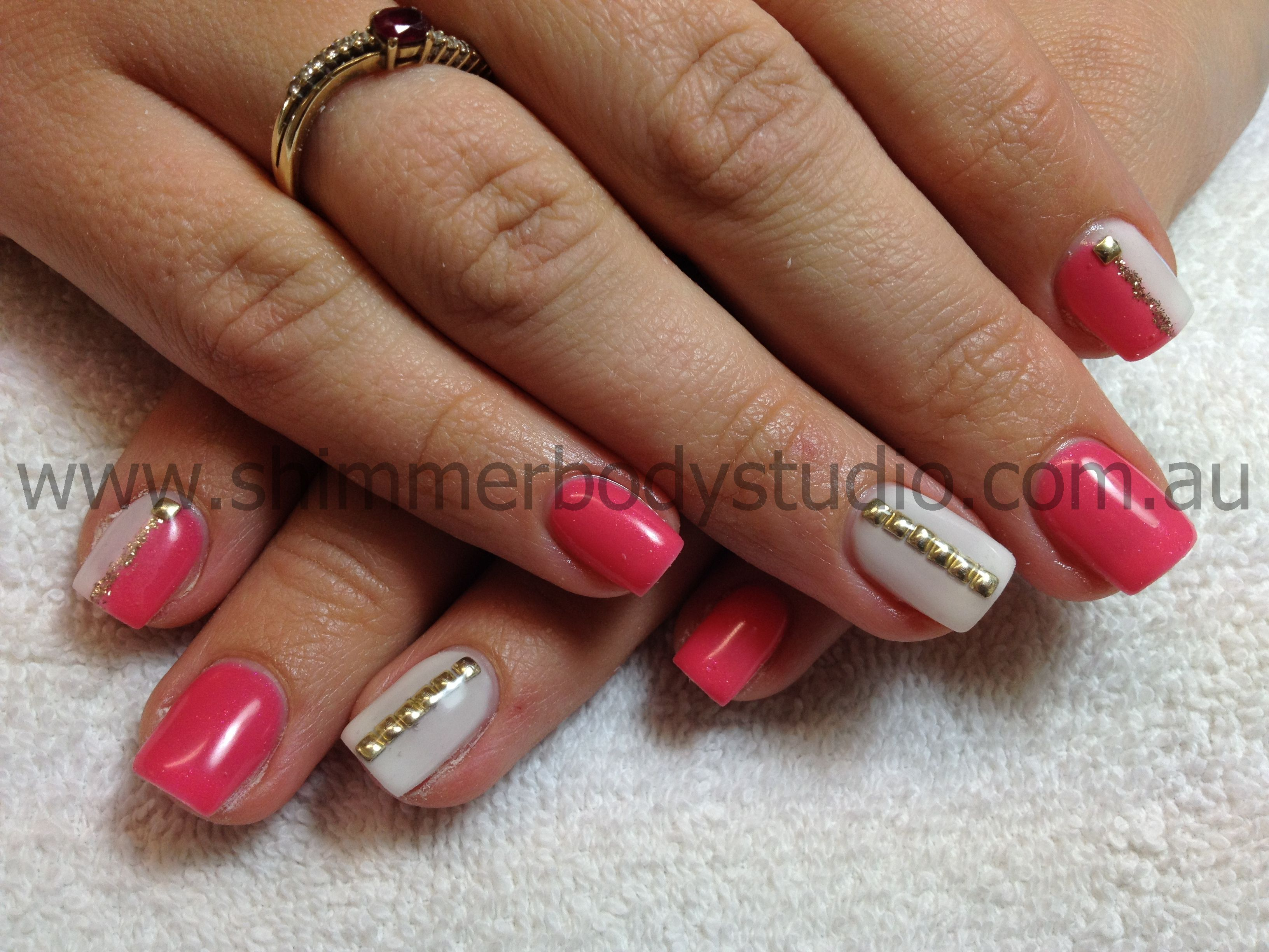 Gel nails, coral and white nails, gold studs, nail art. Shimmer Body ...