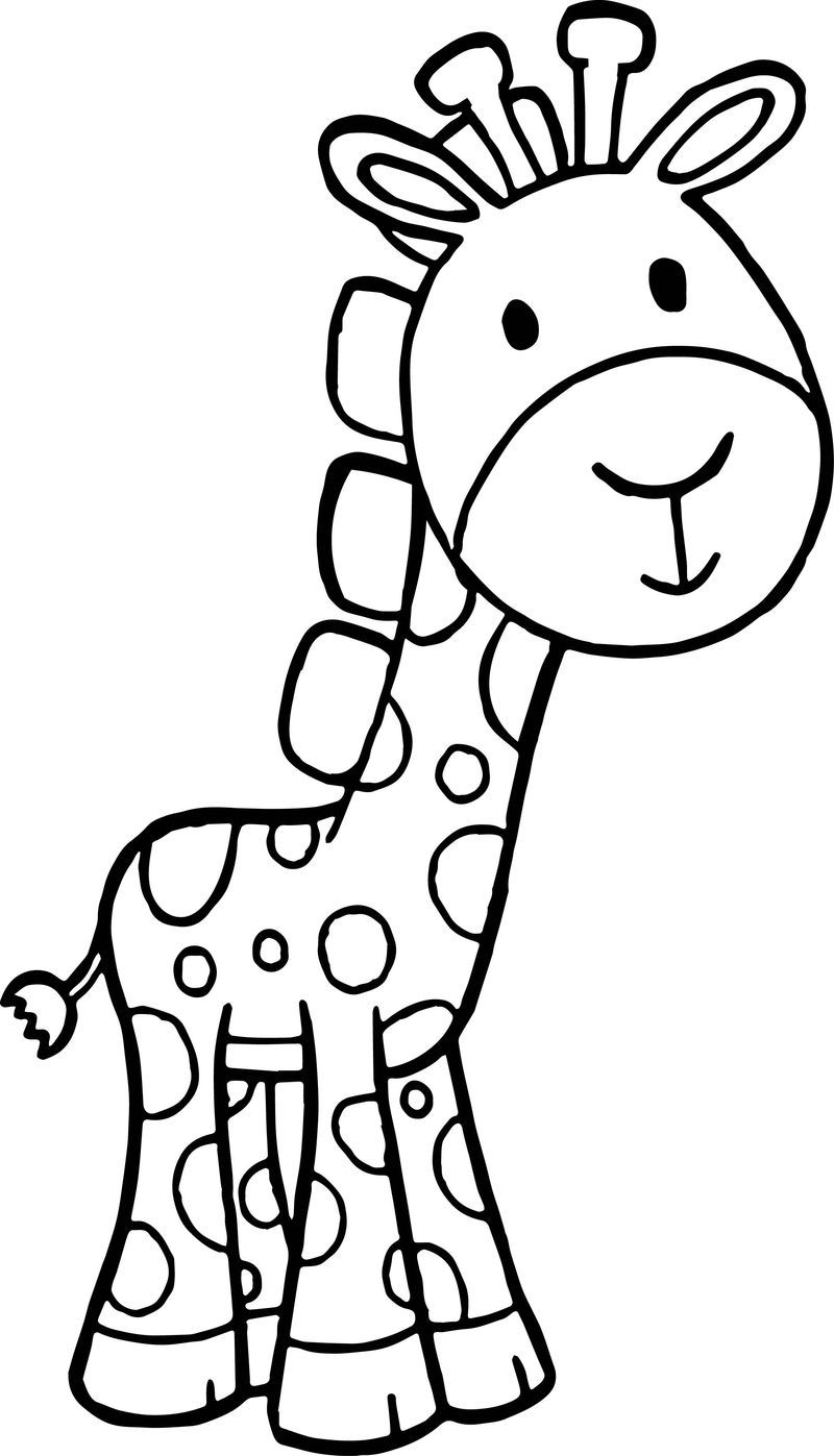 Giraffe Cartoon Free Kids Beautiful Coloring Page in 2020 ...
