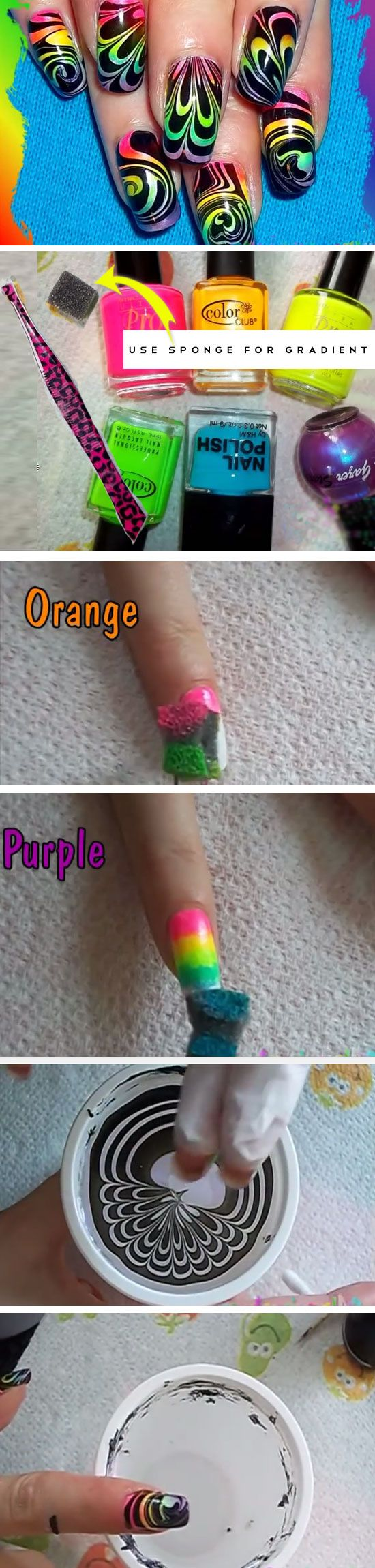 Rainbow Water Marble Click Pick For 23 Cute Summer Nail Art Ideas