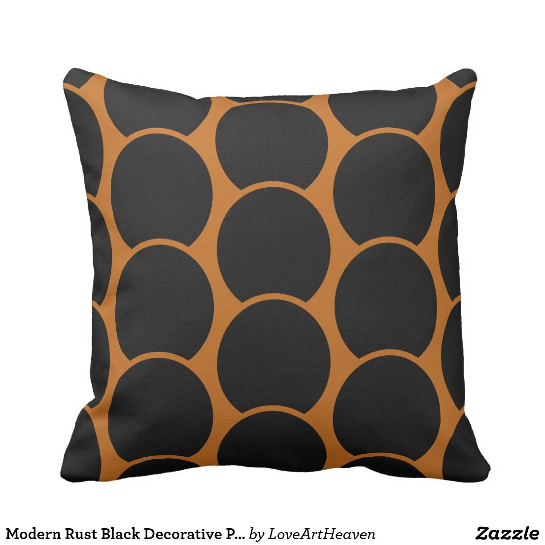 Modern Rust Black Decorative Pillow Zazzle Com Black