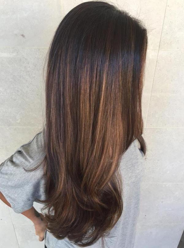Balayage Black Hair Brown Caramel Inspired By Emily From Pll Black Hair Balayage Hair Styles Hair Highlights