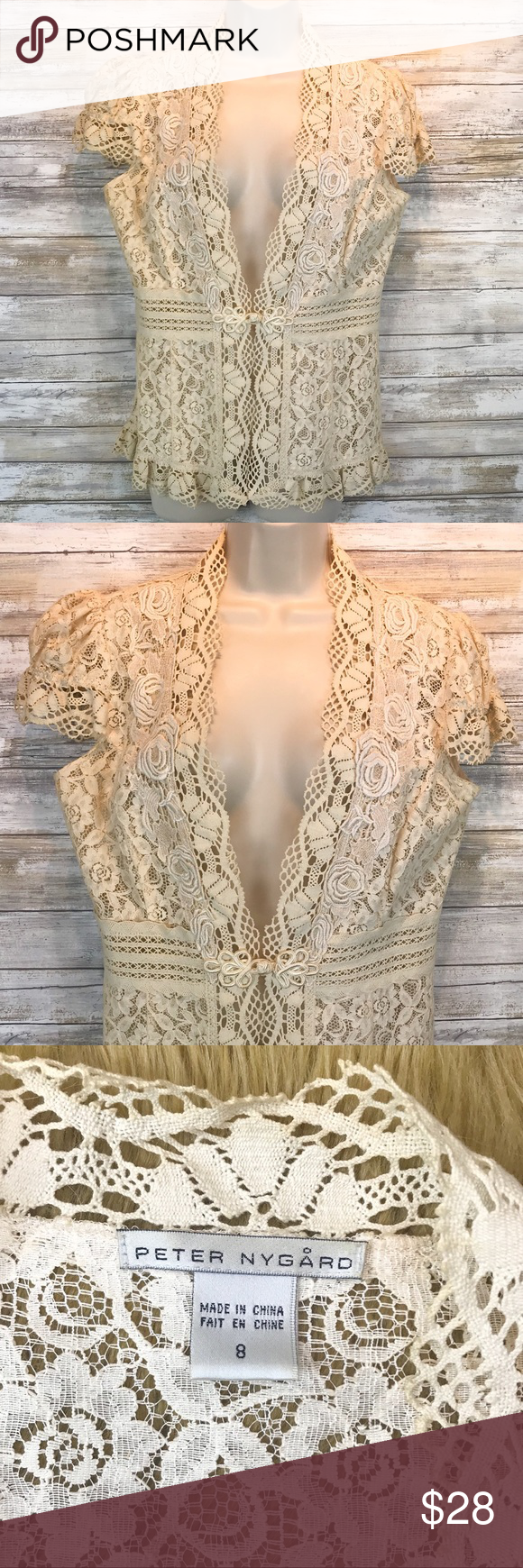 a997ce56324 Peter Nygard cream lace vest sz 8 Peter Nygard cream lace vest sz 8  Excellent Condition Peter Nygard Tops