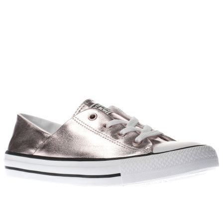 womens converse rose gold coral metallic canvas ox trainers