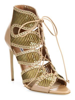 Brian Atwood Gem grommeted laser-cut leather lace-up sandals
