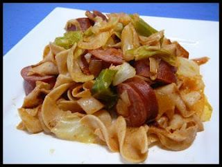 Photo of 4 c. cabbage, chopped  1/2 lb egg noodles  1 link turkey kielbasa, sliced  1 lar…