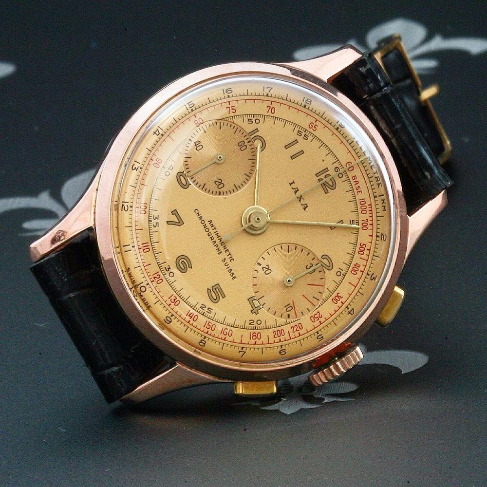 Proessionally Restored IAXA Swiss Vintage Chronograph Watch Landeron Cal. 48