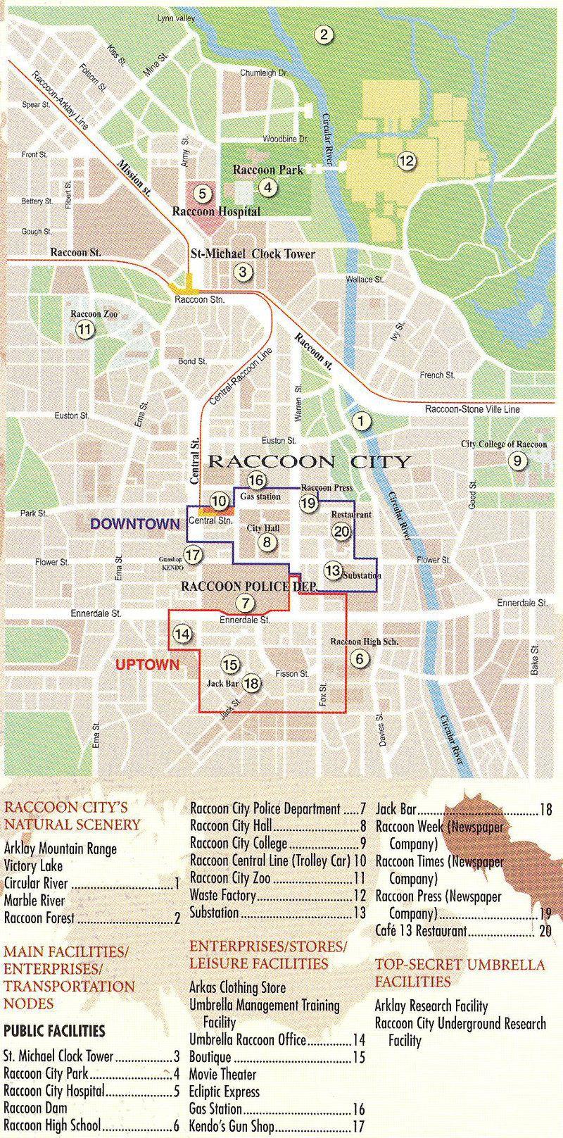 Raccoon City Map Raccoon City Map by Zaidtomo.deviantart.on @DeviantArt