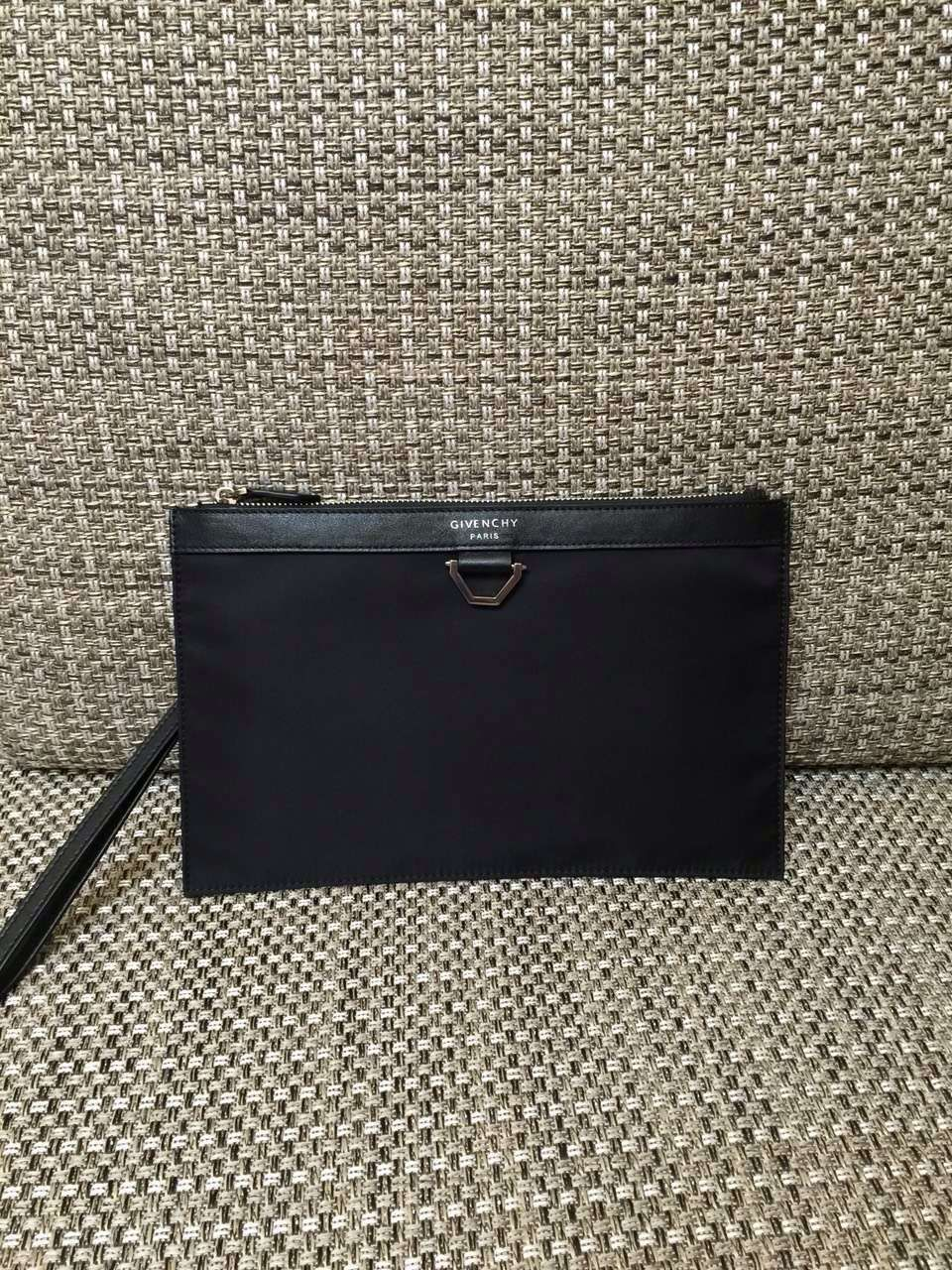 7ec16d2b724 S S 2016 Givenchy Small Leather Goods Collection Outlet- Givenchy Zip Pouch  Clutch in Black Fabric and Calfskin Leather