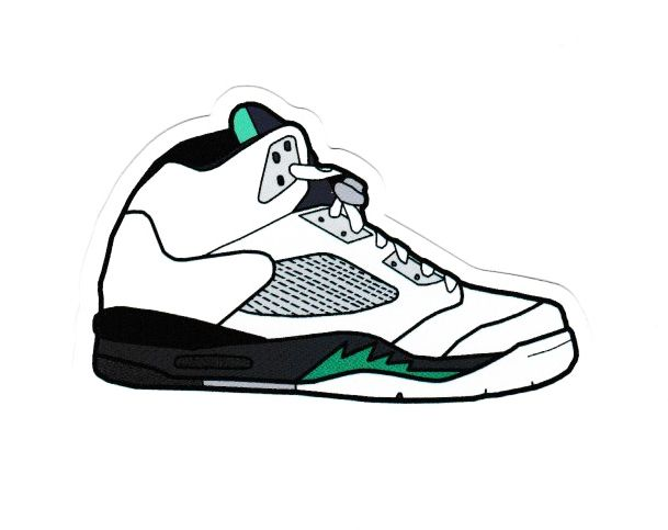 #1850 Nike Air Jordan 5 Shoes Box Cartoon , 8 cm decal sticker