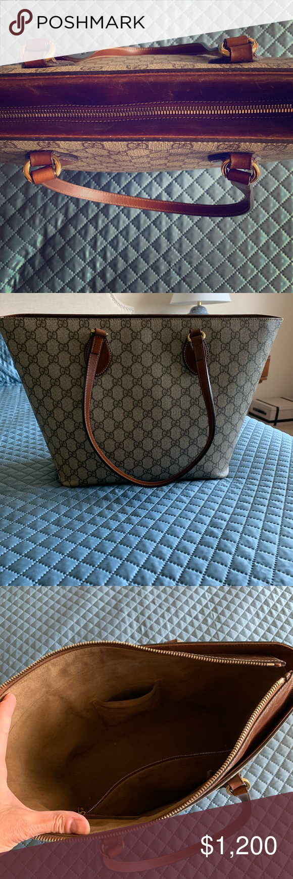 Gucci A Zip Tote Gg Coated Canvas Medium Linea Zip Tote Tote Womens Tote Bags