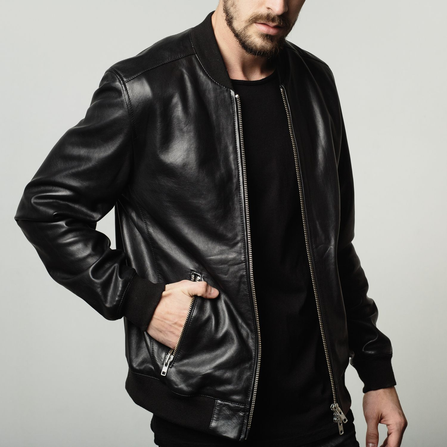 [Bomber Jacket] Leather Bomber Jacket in Black in 2020