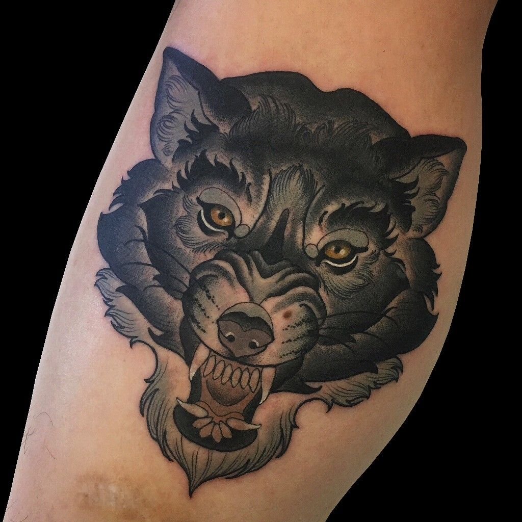 Neo Traditional Wolf Tattoo Traditional Panther Tattoo Neo Traditional Chest Tattoo Geometric Wolf Tattoo