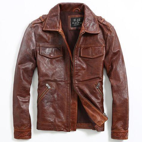 Compra largo abrigo de cuero de los hombres online al por