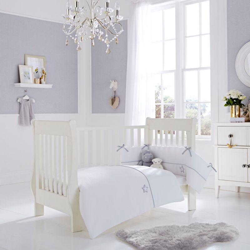Pretty Grey Star Cot Bed Bedding Set Asda