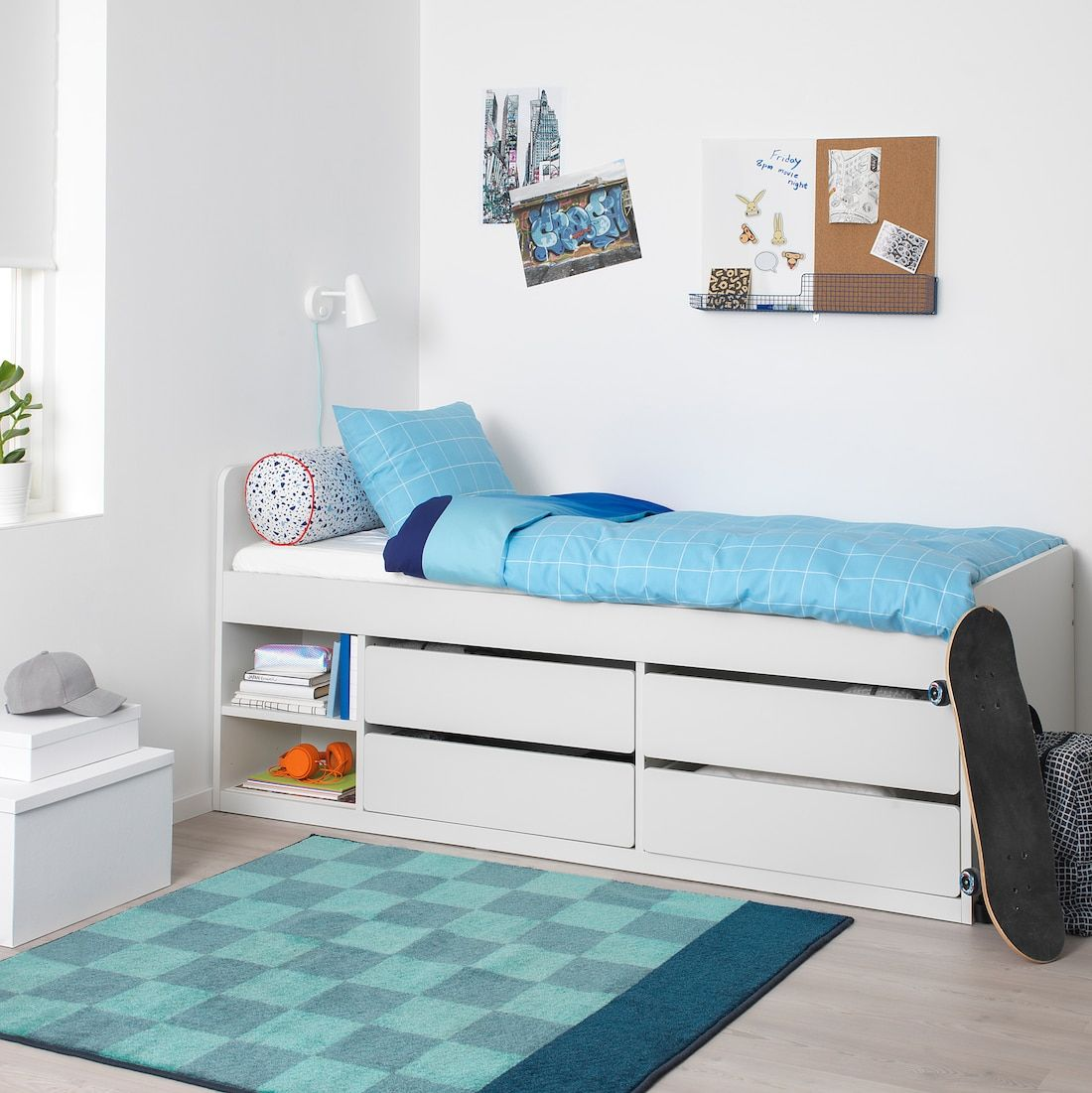 SLÄKT Bed frame w/storage+slatted bedbase, white, Twin