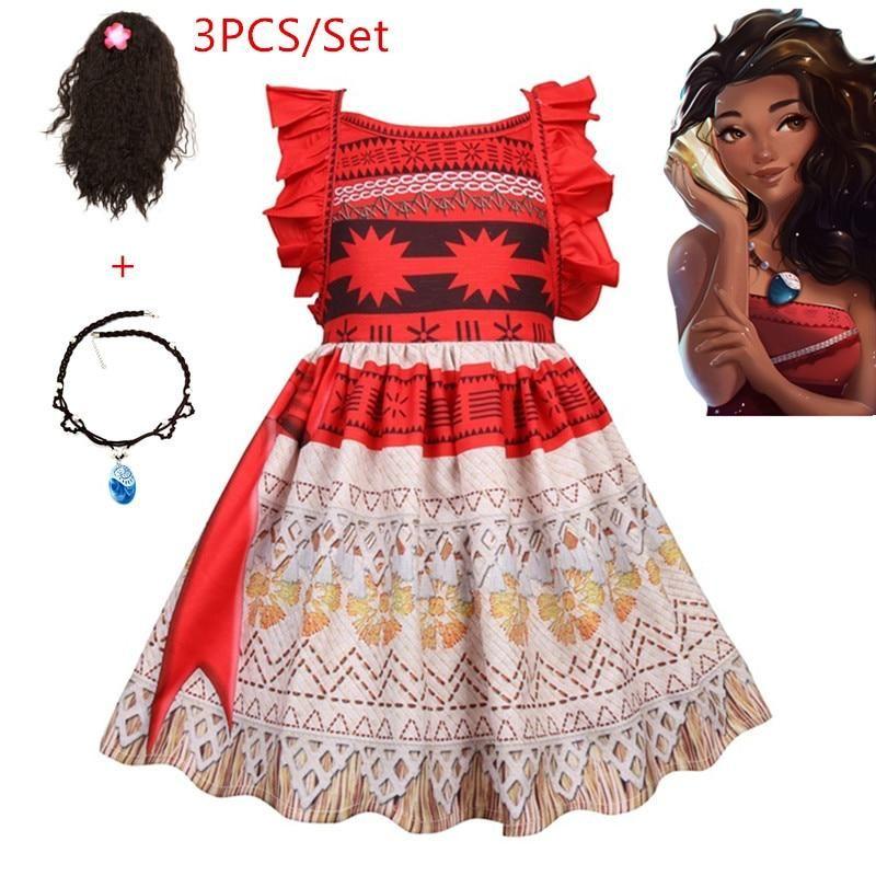 225ac604d7655 New Vaiana Necklace Dress Moana clothing Princess Dresses Kids Party ...