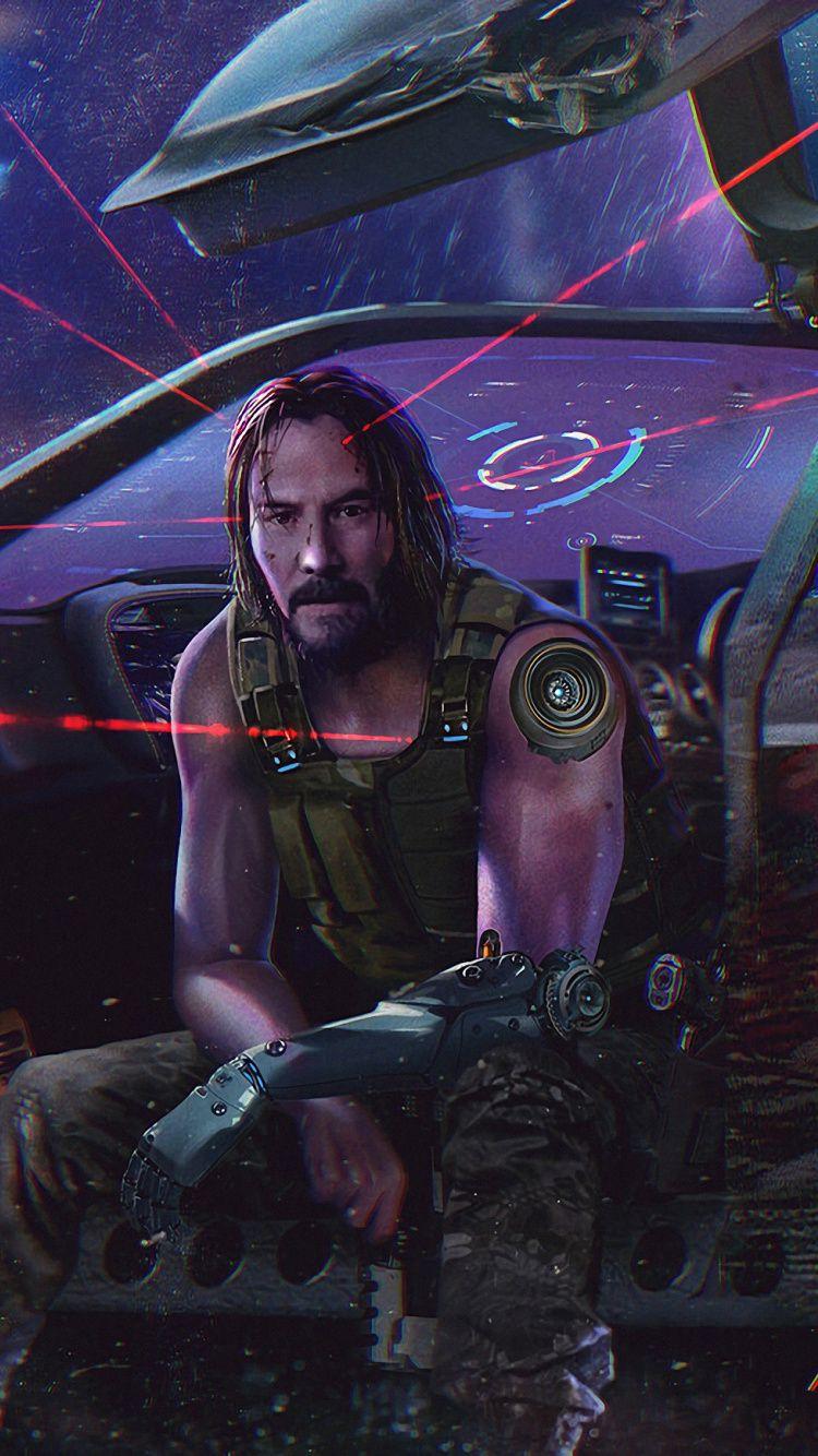 750x1334 Cyberpunk 2077, Keanu Reeves, video game, art