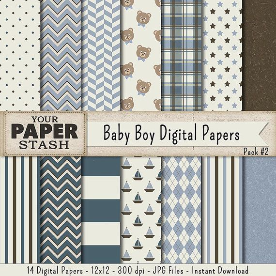 This Sweet Baby Boy Scrapbook Paper Pack Contains 14 Digital