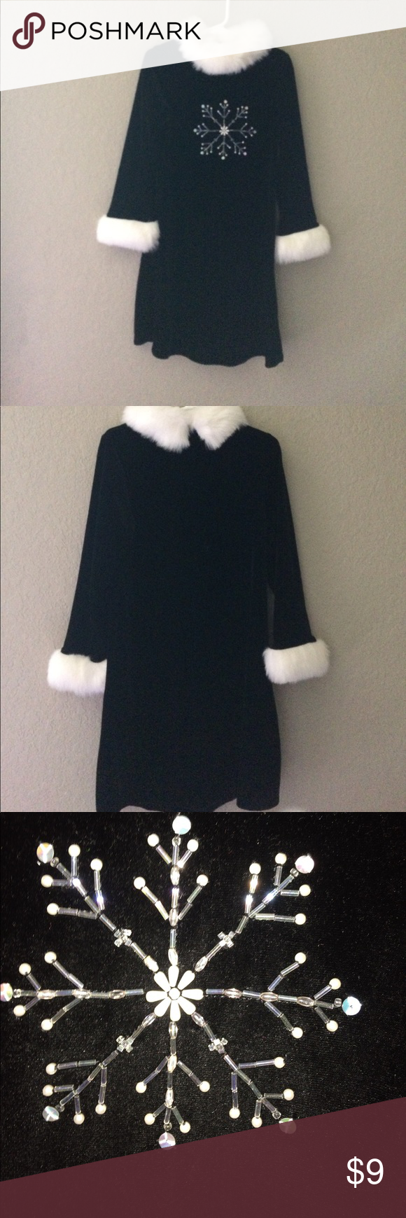 Black girls long sleeve black dress