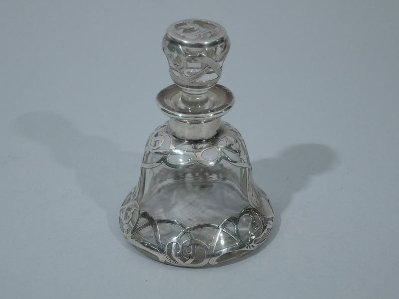 Perfume Bottle Silver Overlay Clear Glass C 1900