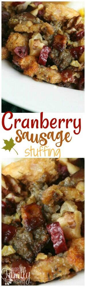 This Cranberry Sausage Stuffing is the best stuffing ever! It is a sweet and savory stuffing that is always a Thanksgiving favorite! via @favfamilyrecipz