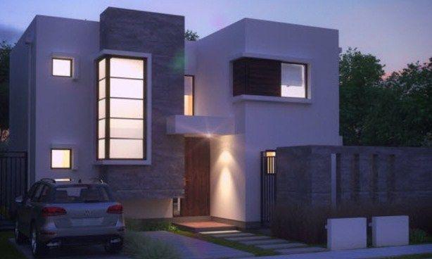 Plano de casa moderna de 200 m2 dos plantas en 2019 for Casa moderna 140 m2