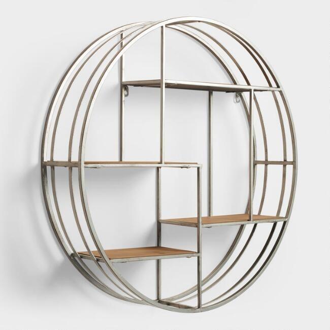 Round Wall Shelf Cubby Storage Wood /& Metal Display 4 shelves ~ Asymmetrical