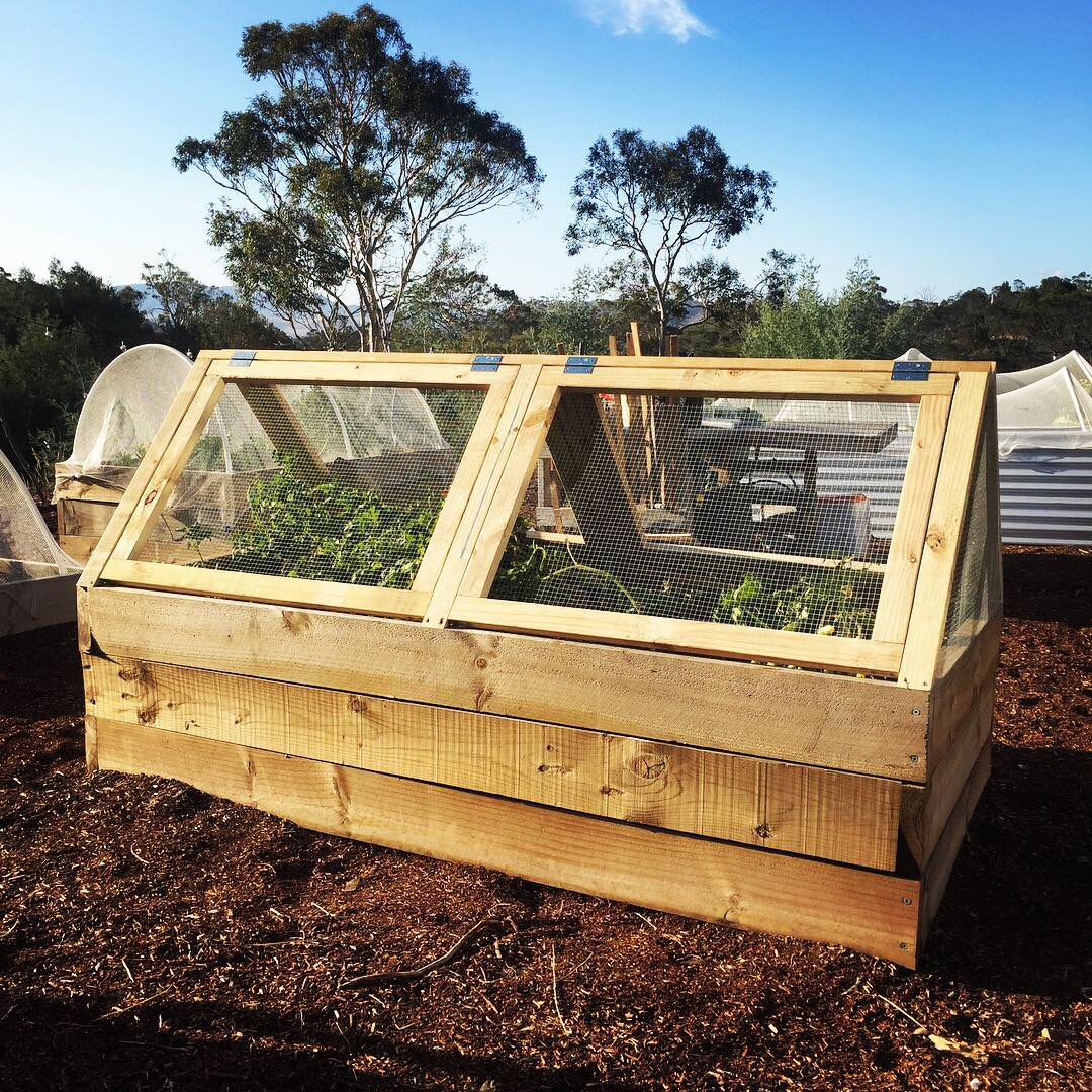 Wooden Raised Garden Bed Cover With Hinged Doors To Open From Each