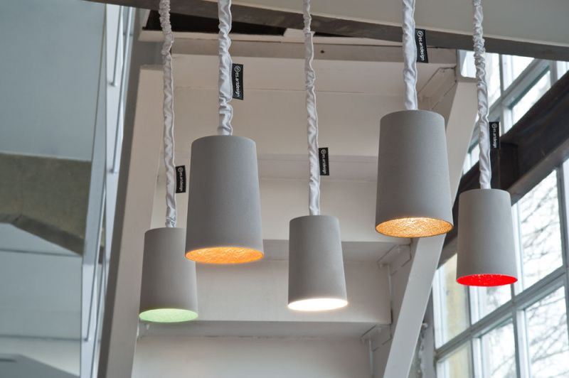 Paint Pendant Light Cement, Gold by in-es.artdesign
