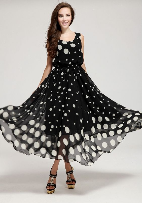 Black Polka Dot Round Neck Chiffon Maxi Dress Puantiyeli Elbise Sifon Elbise Elbise Modelleri