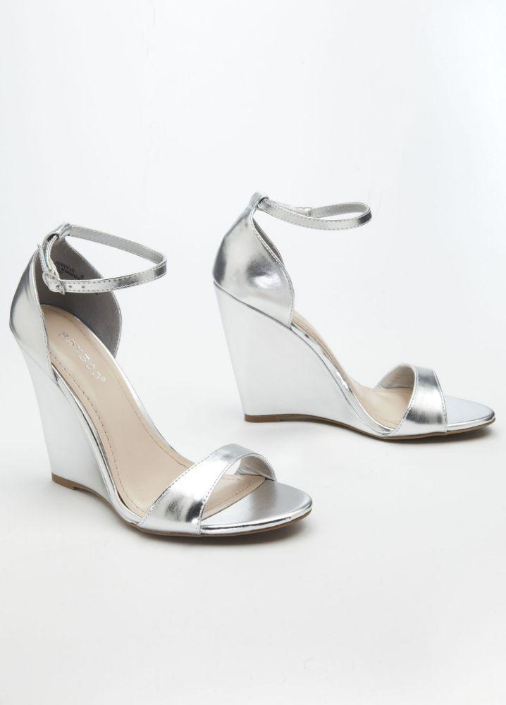 8cc1c315f1a Metallic Wedge Sandal with Ankle Strap - Silver Metallic