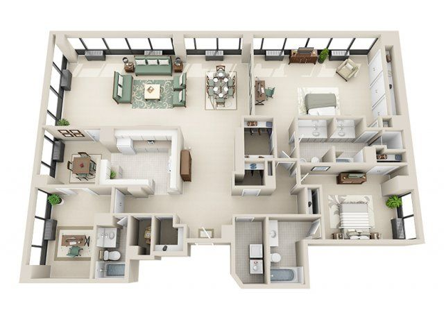 2 Bed 3 Bath Apartment In Detroit Mi Riverfront Towers Apartments Sims House Plans Sims House Design Apartment Floor Plan