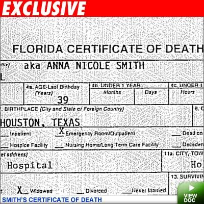 Official certificate of death for Anna Nicole Smith, filed in ...