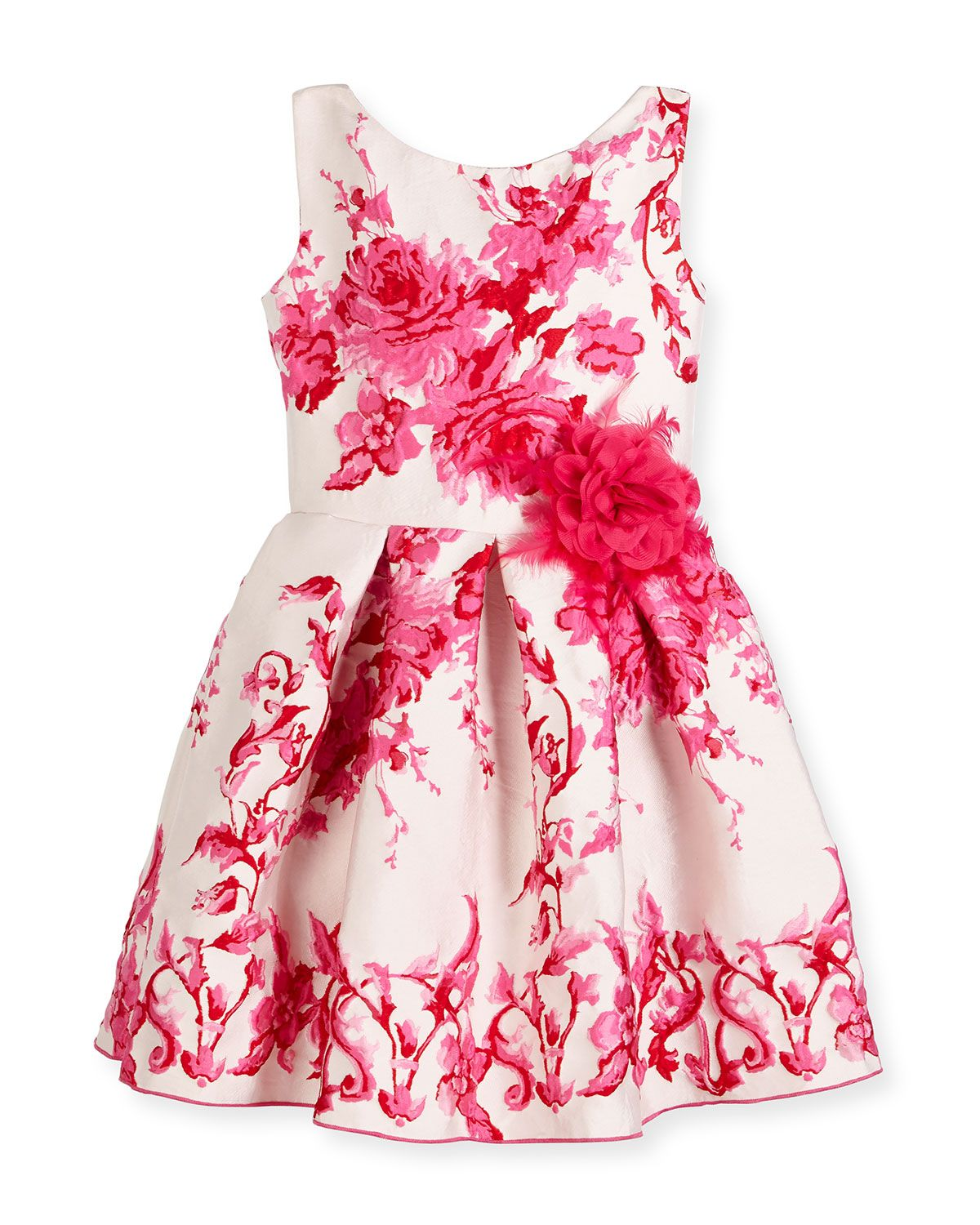 Sleeveless Pleated Floral Jacquard Dress, Pink, Size 7-16, Girl\'s ...