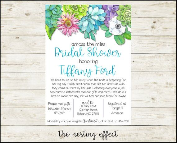 571c6c2164aa Across the Miles Bridal Shower Invitation