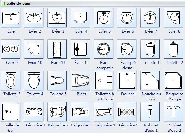 Symboles de salle de bain floor plan symbol for Plan cuisine 2d