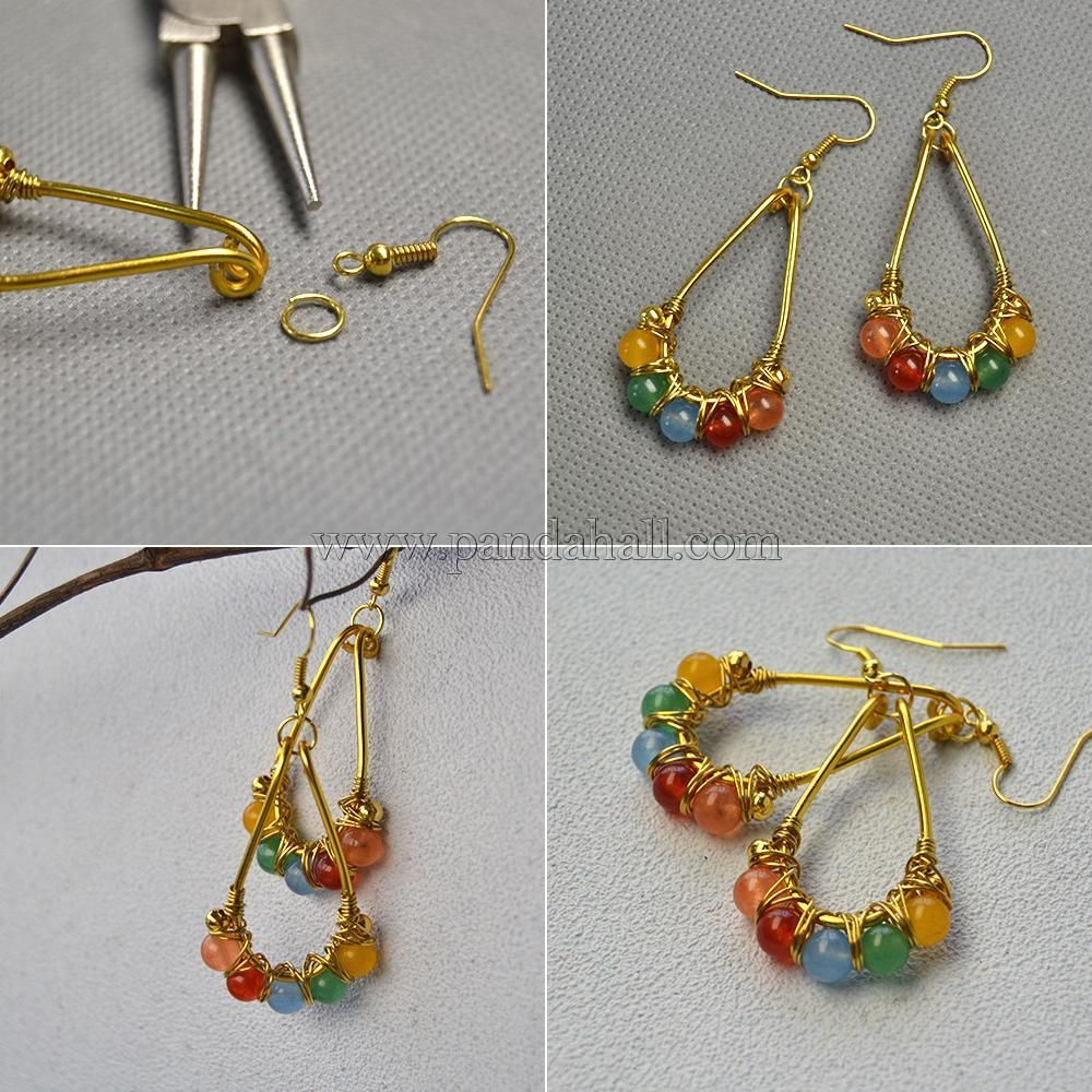 Mixed Color Jade Beads Wire Wrapped Earrings   Crafts-Jewelry ...