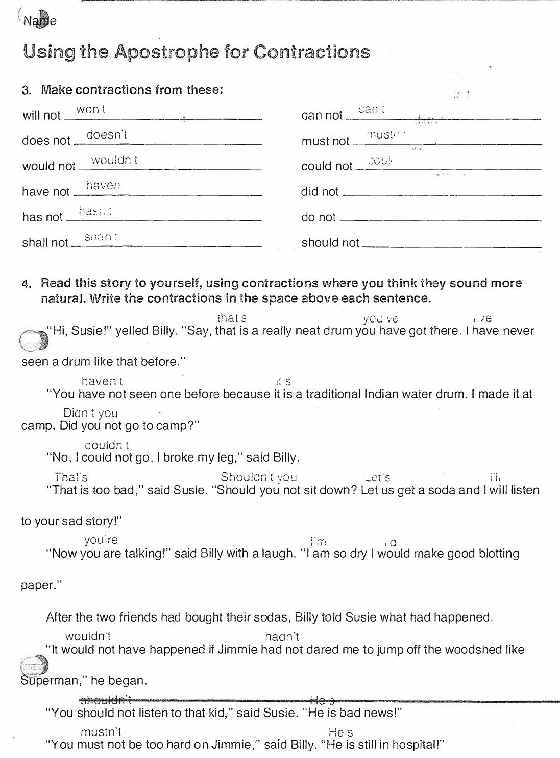 English Assignments Using Contractions Page 2 Answers English Lessons Lesson Reading